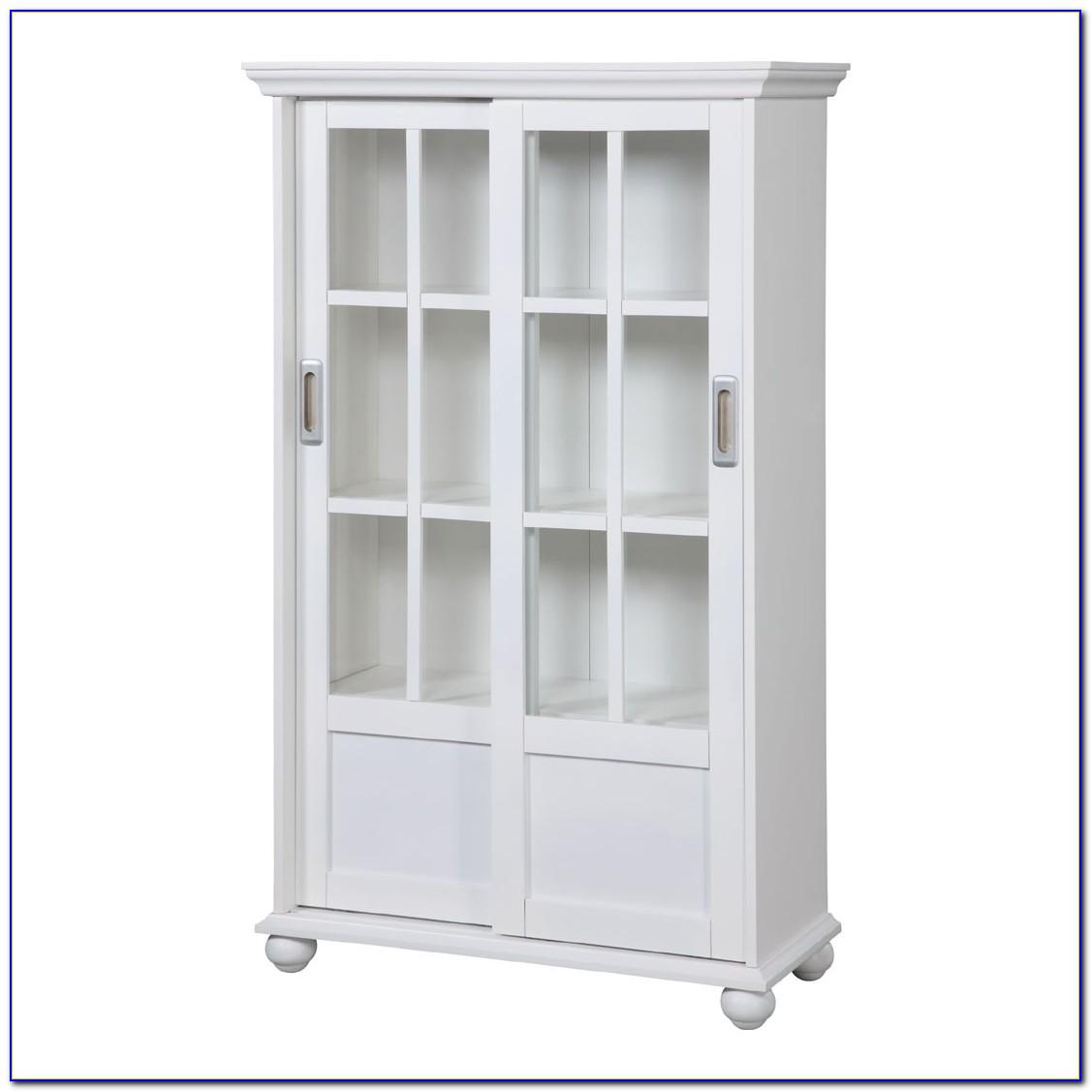 White Sliding Glass Door Bookcase