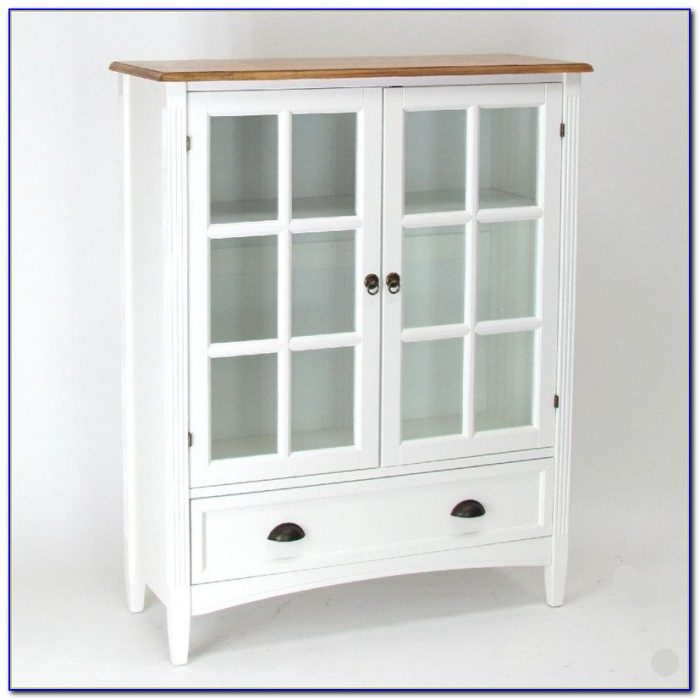 White Wood Bookcase With Glass Doors
