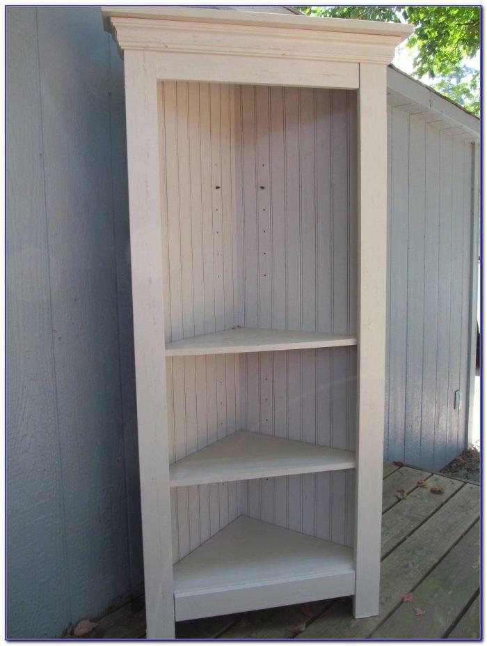 White Wooden Corner Bookcase