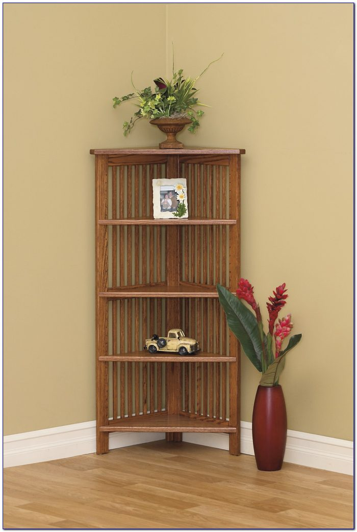 Wood Corner Bookcase Unit