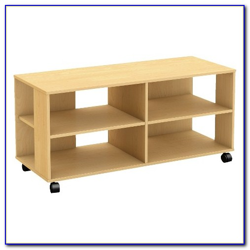 Wooden Bookcase On Casters