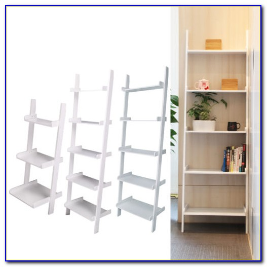 5 Shelf Ladder Bookcase White