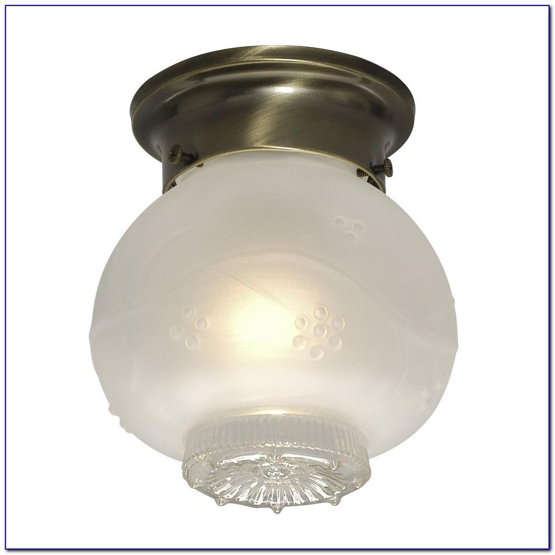 Antique Brass Flush Fitting Ceiling Lights