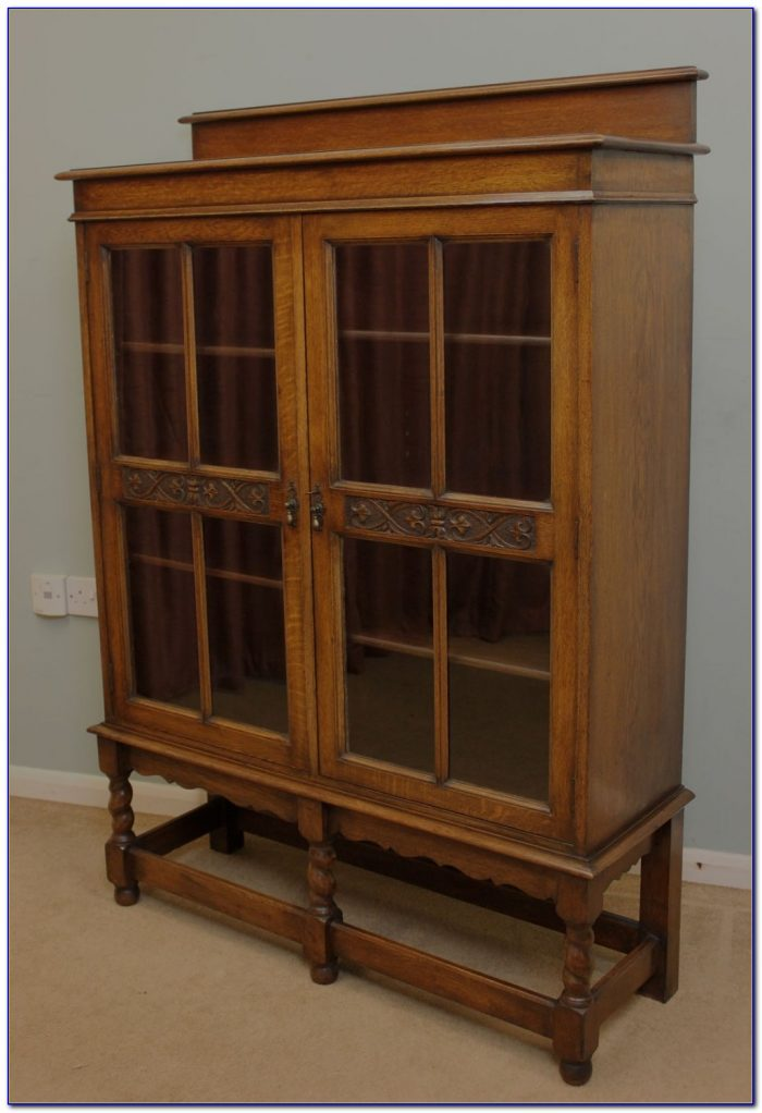 Antique Oak Bookcase With Mirror