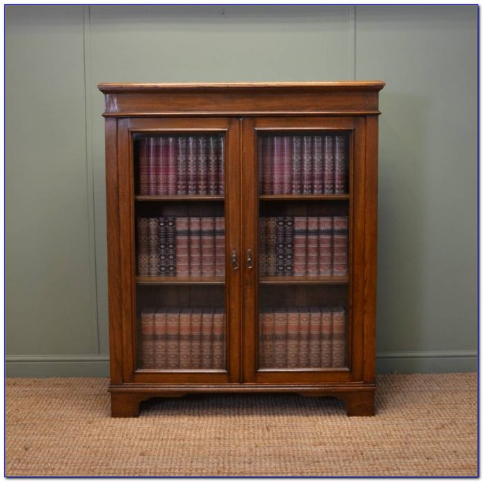 Antique Oak Bookcases With Glass Doors
