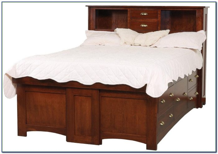 Bookcase Headboard Queen Size Bed