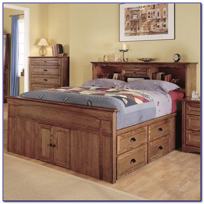 Captains Bed With Bookshelf Headboard