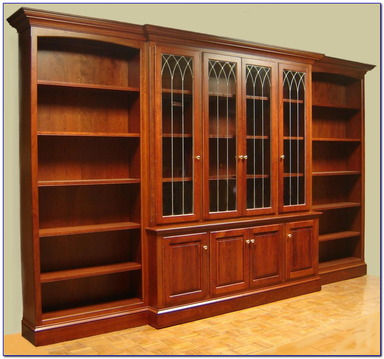 Cherry Bookcases With Glass Doors