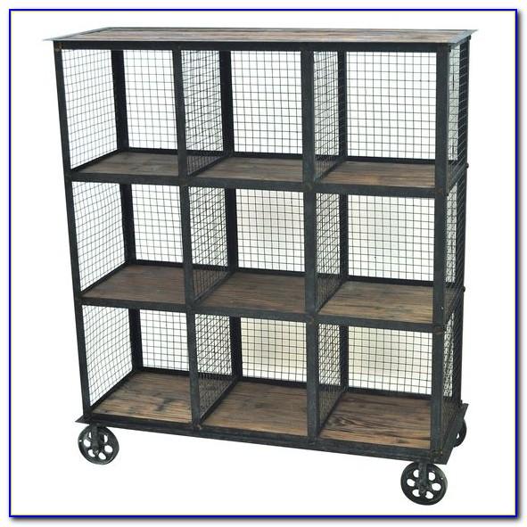 Industrial Bookcase Wood Wheels