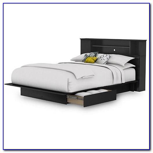 Queen Platform Bed Bookcase Headboard
