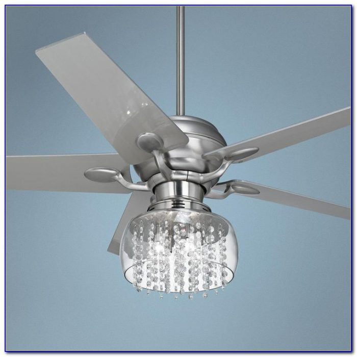 Silver Ceiling Fan With Crystals