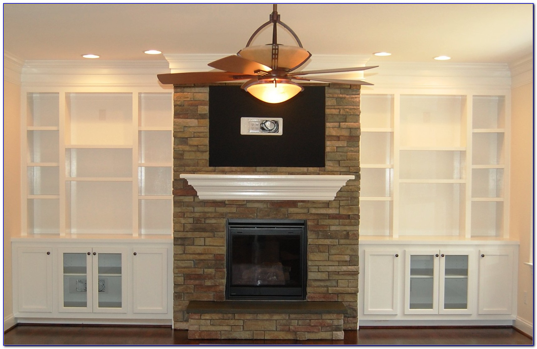Stone Fireplace With Built In Bookcases