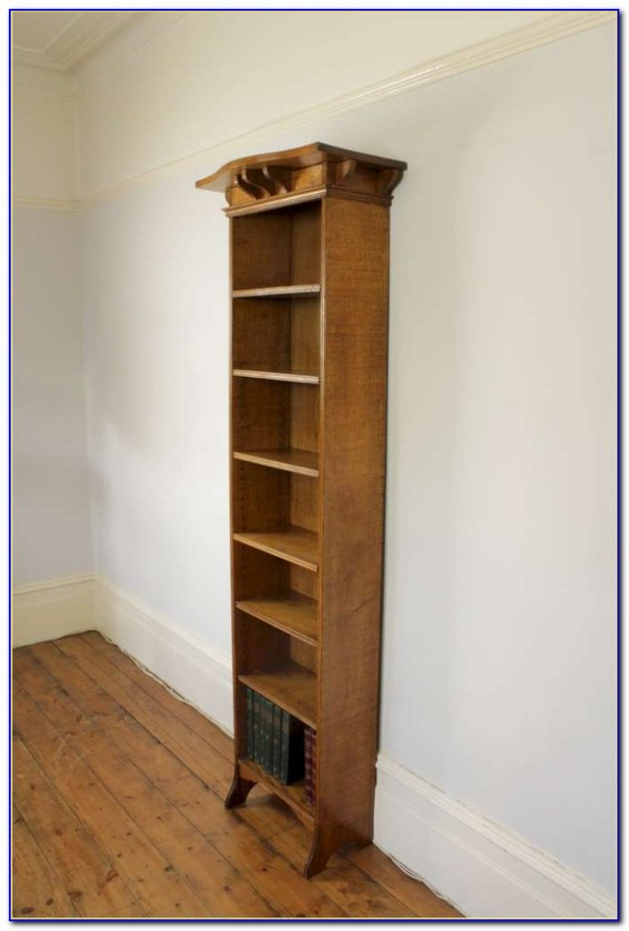 Tall Narrow Light Oak Bookcase