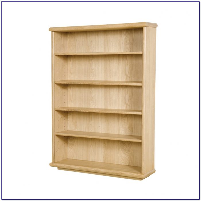 Tall Oak Bookcase With Cupboard