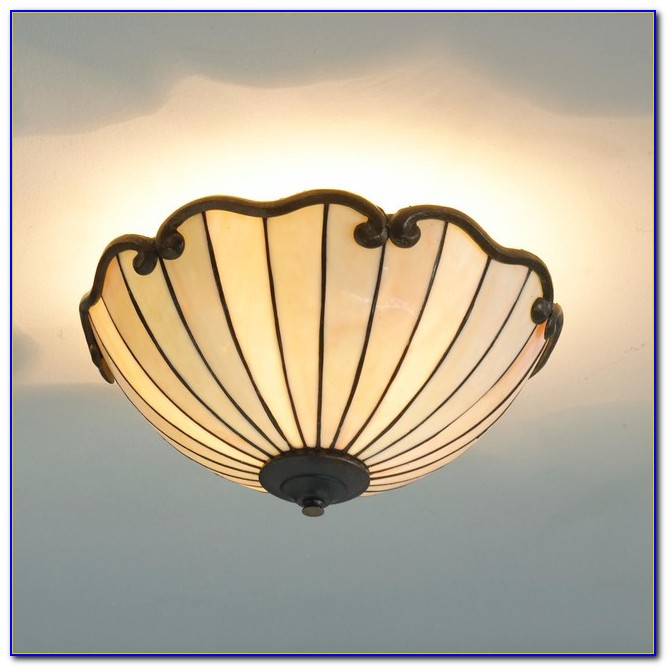 Stained Glass Flush Mount Ceiling Light