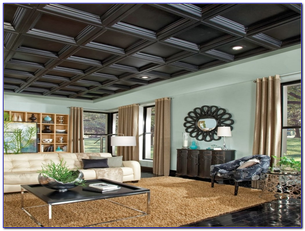 Armstrong Black Coffered Ceiling Tiles