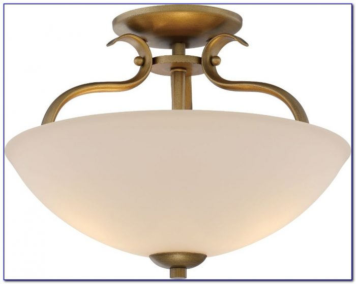 Mission Tiffany Style Glass Semi Flush Ceiling Light