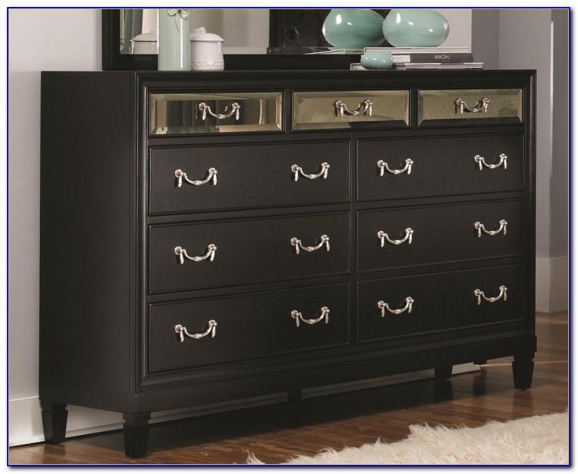 Black 9 Drawer Dresser With Mirror