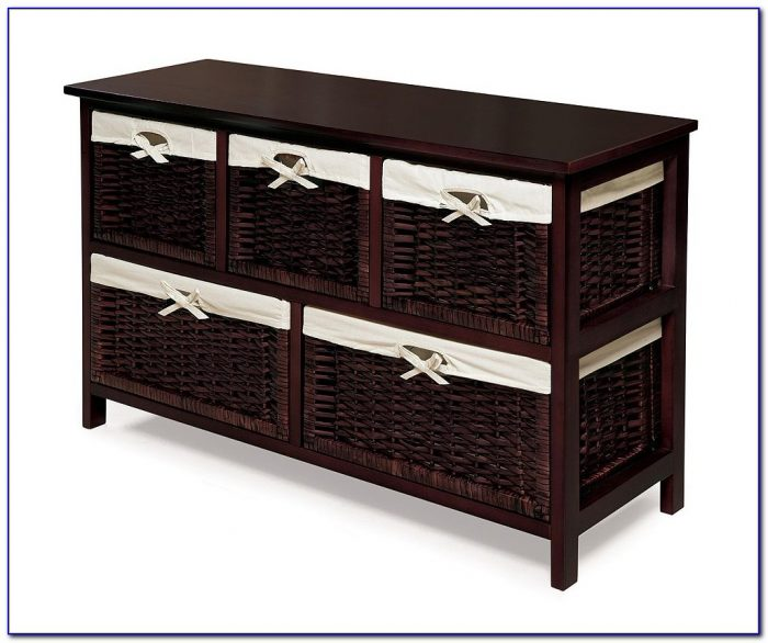 Black Dresser With Wicker Baskets
