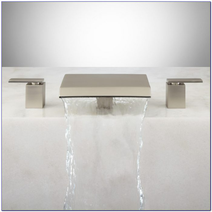 Brushed Nickel Waterfall Bathroom Faucet