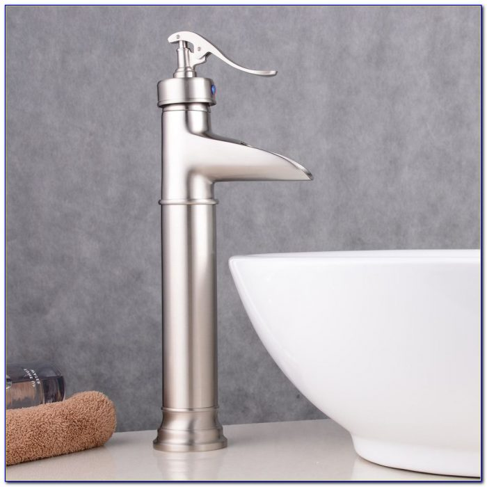 Brushed Nickel Waterfall Faucet Bathroom