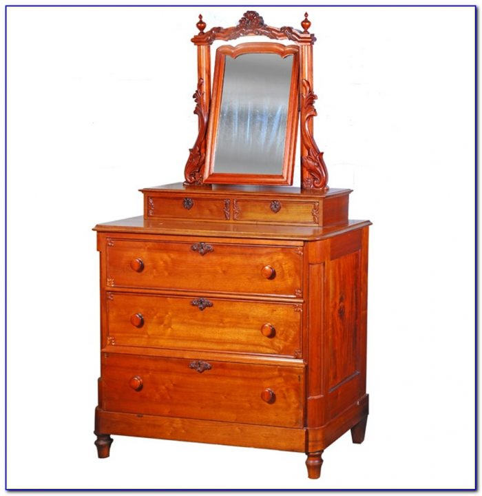 Cherry Wood Dresser With Mirror