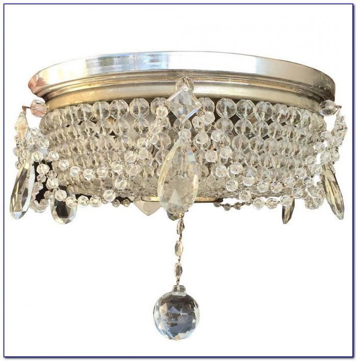 Chrome And Crystal Flush Ceiling Lights