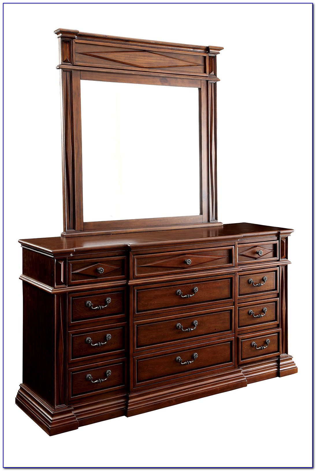 Dark Cherry Dresser With Mirror