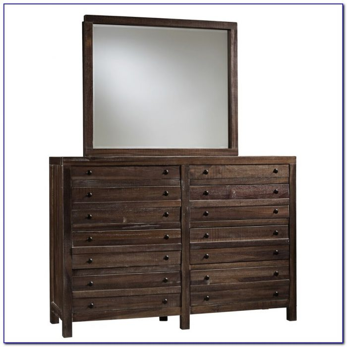 Dark Wood And Mirrored Dresser