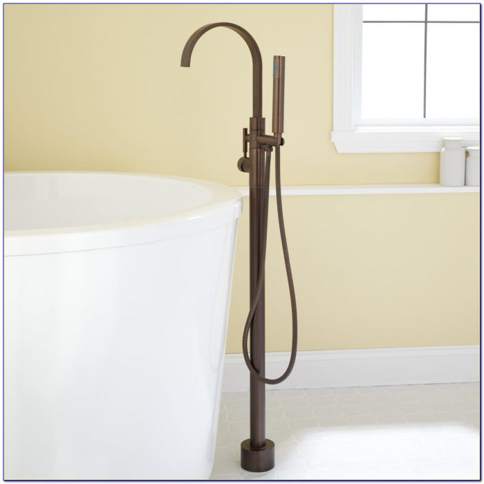 Deck Mount Bathtub Faucet With Sprayer