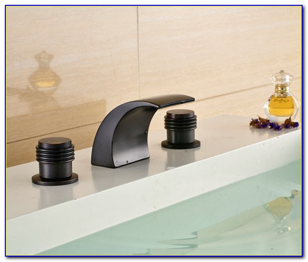 Oil Rubbed Bronze Waterfall Tub Faucet Wall Mount