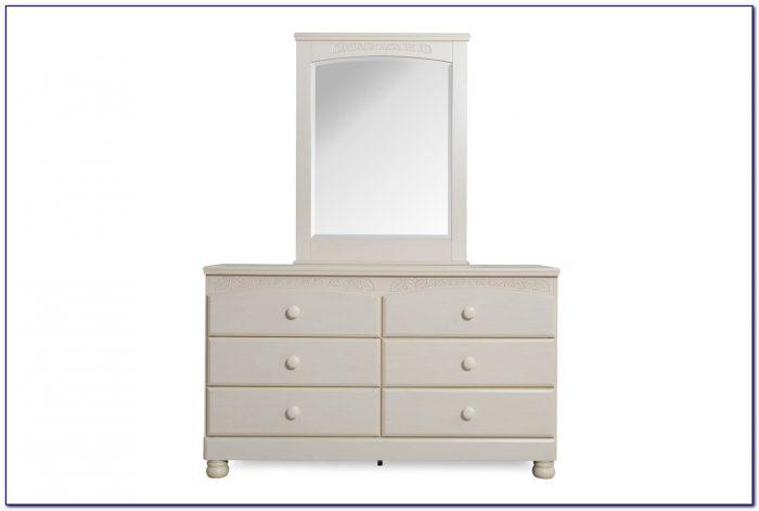 Shley Signature Design Exquisite White Dresser And Mirror