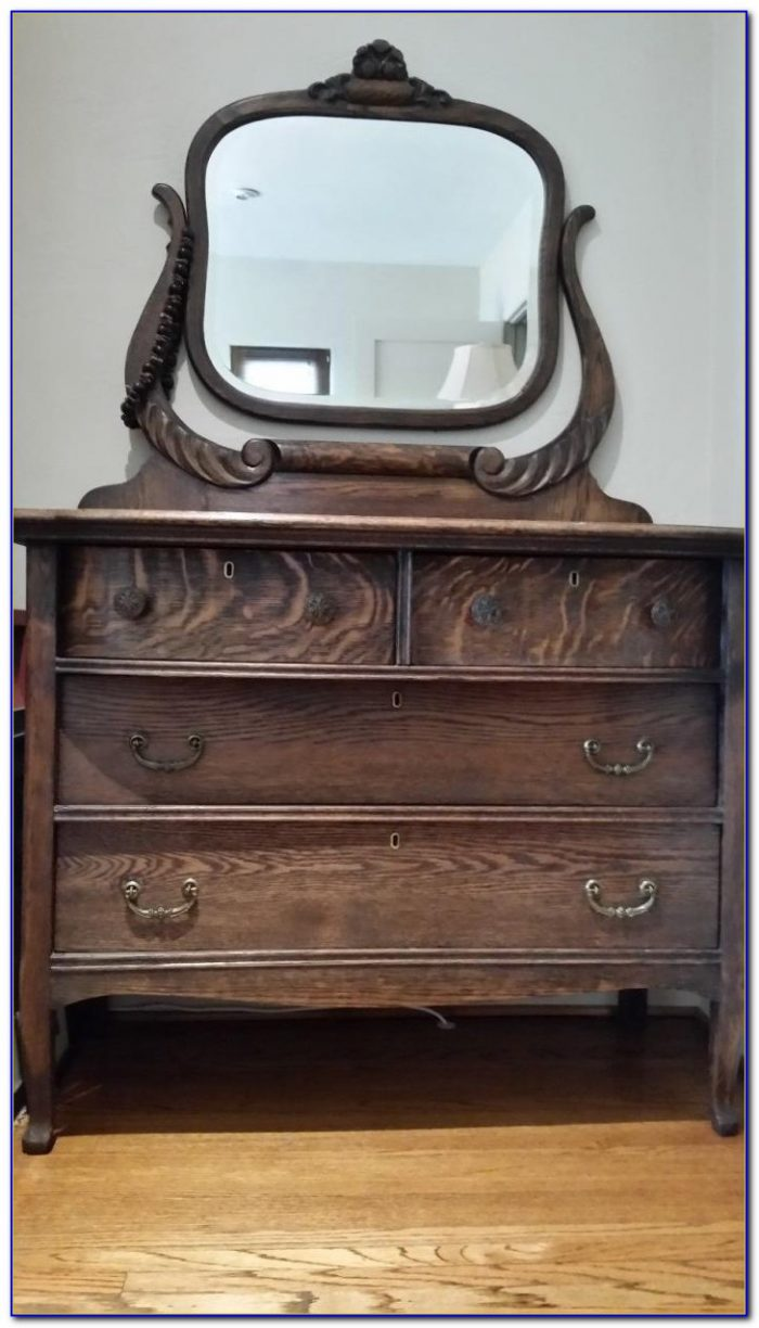 Solid Oak Dresser With Mirror