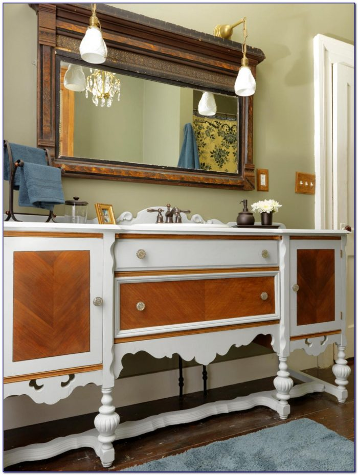 Using Antique Dresser For Bathroom Vanity