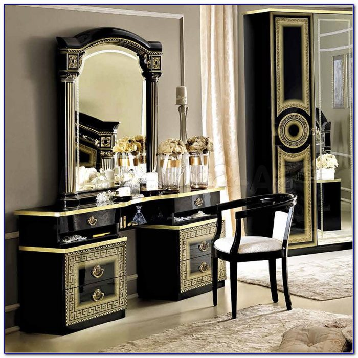Vanity Dresser With Mirror And Chair