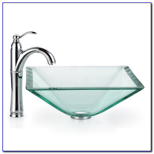 Vessel Sink Waterfall Faucet Combination