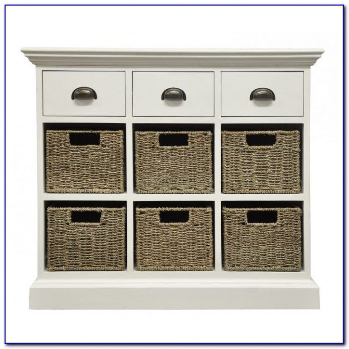 White Dresser With Wicker Baskets