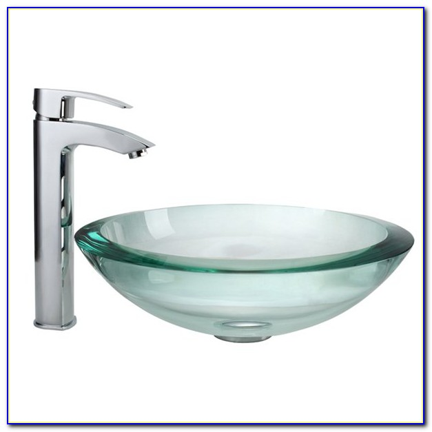 White Vessel Sink And Faucet Combo