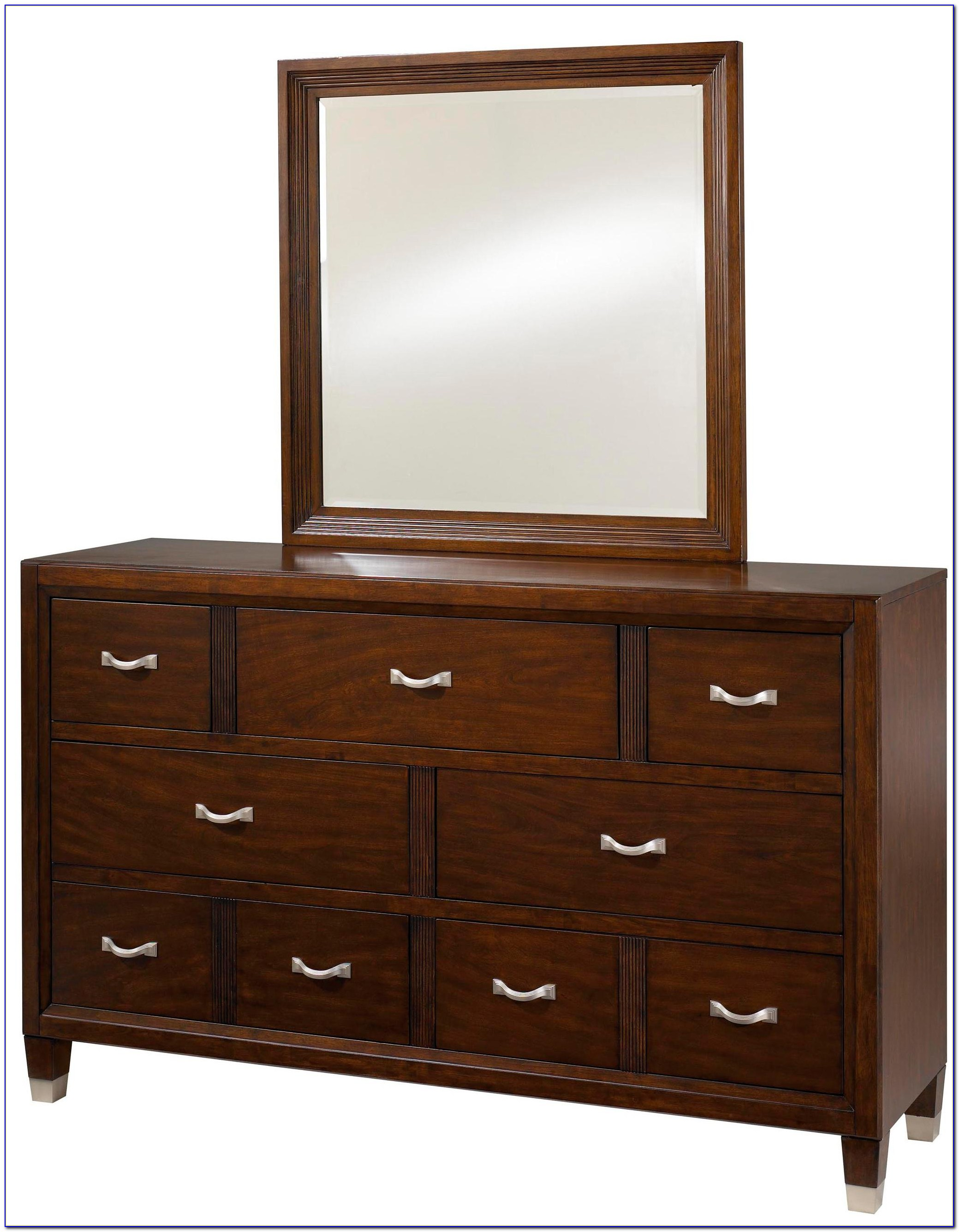Wood Dresser With Mirror Drawers