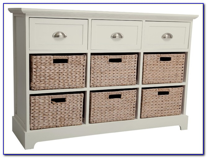 Wood Dresser With Wicker Baskets
