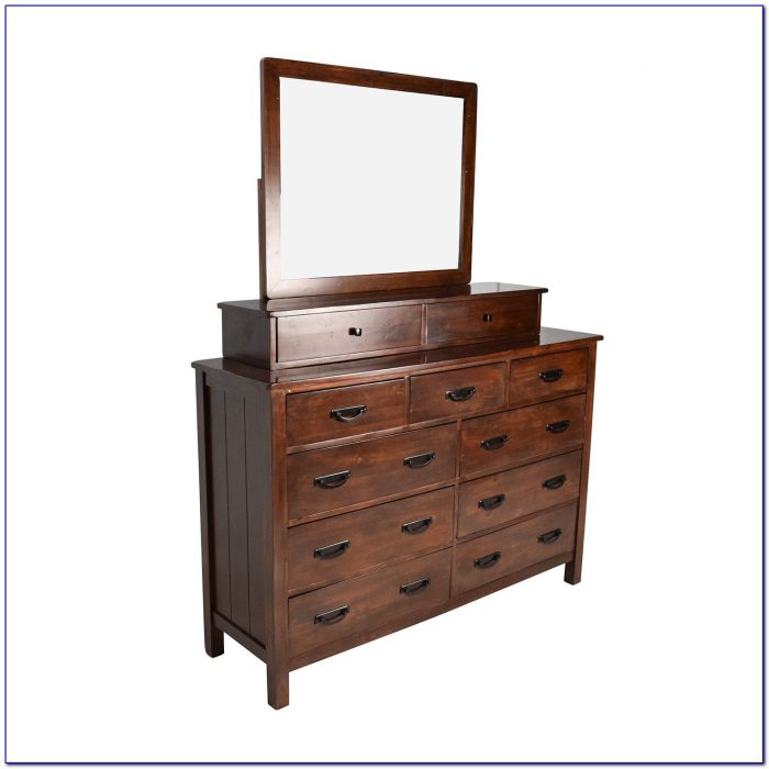 Wooden Vanity Dresser With Mirror