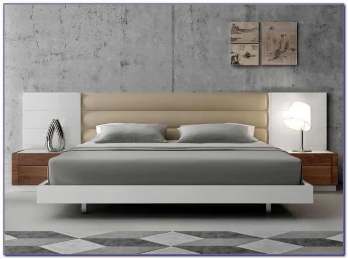 Bed Frame With Cushioned Headboard