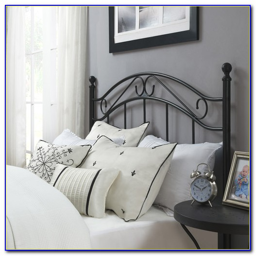 Black Metal Queen Bed Frame With Headboard