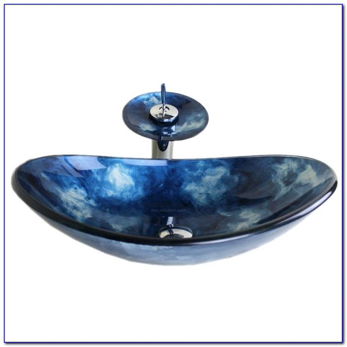 Blue Glass Vessel Sink Waterfall Faucet