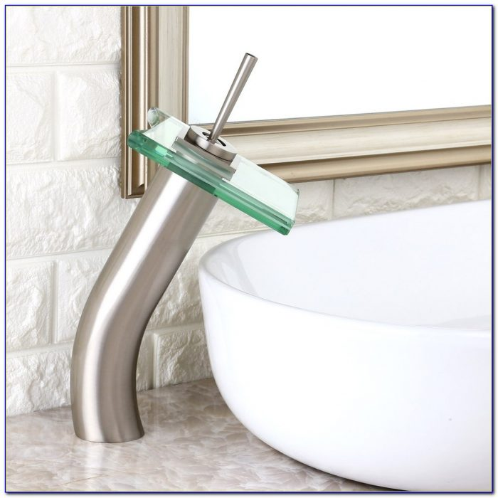 Frosted Glass Vessel Sink With Waterfall Faucet