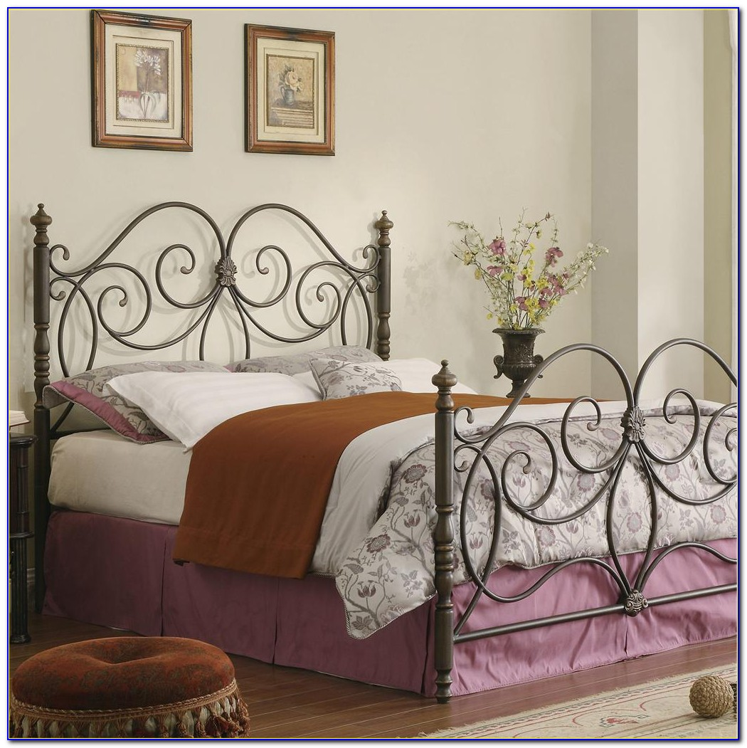 Full Size Bed Frame With Hooks For Headboard And Footboard