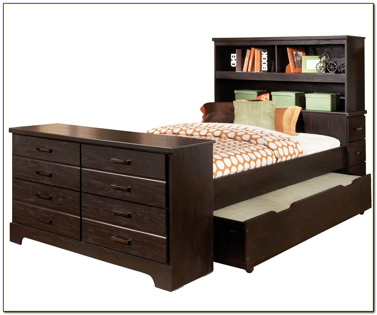 Full Size Bed With Bookshelf Headboard