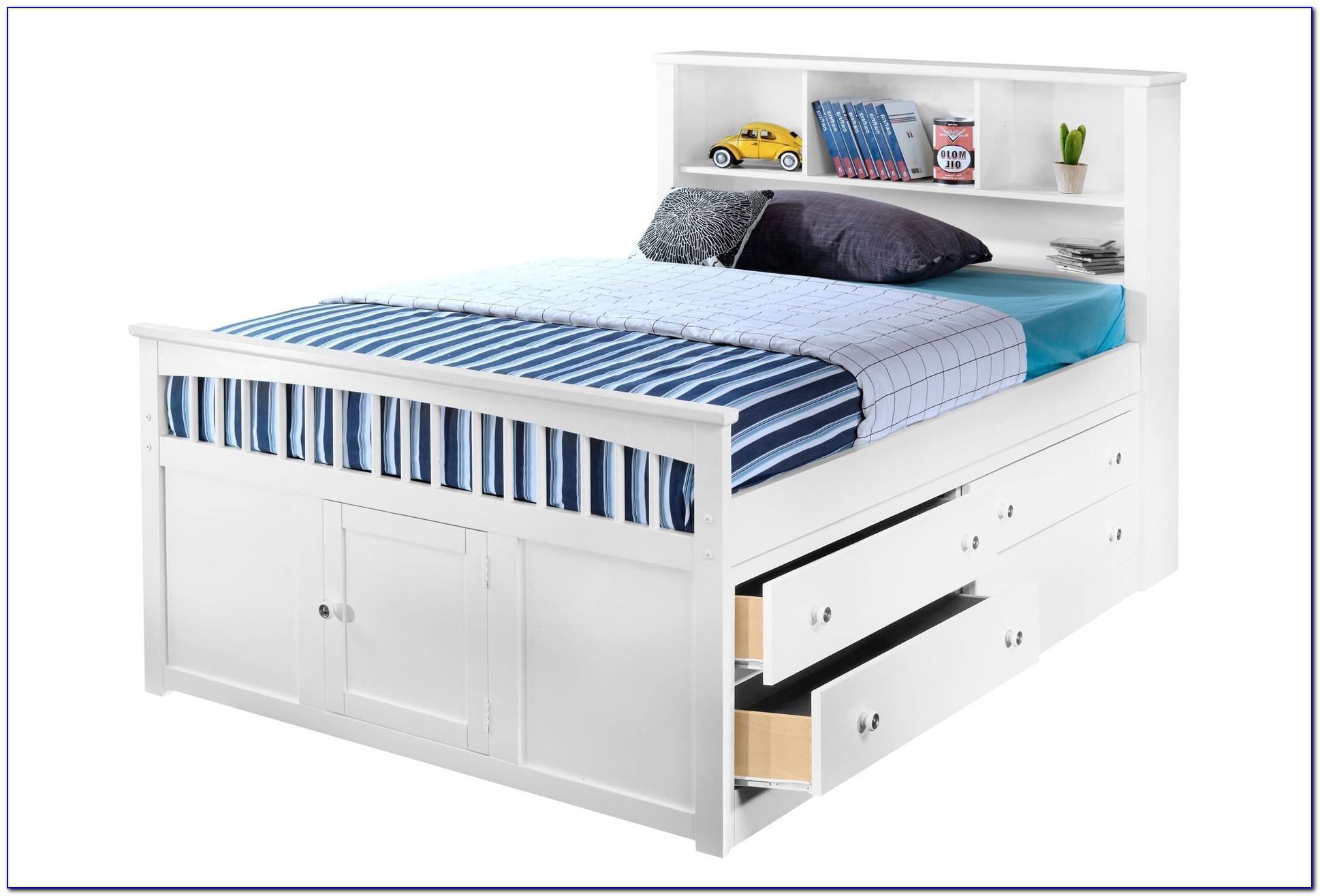Full Size Platform Bed With Storage Drawers And Headboard