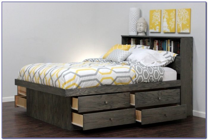Full Size Platform Bed With Tufted Headboard