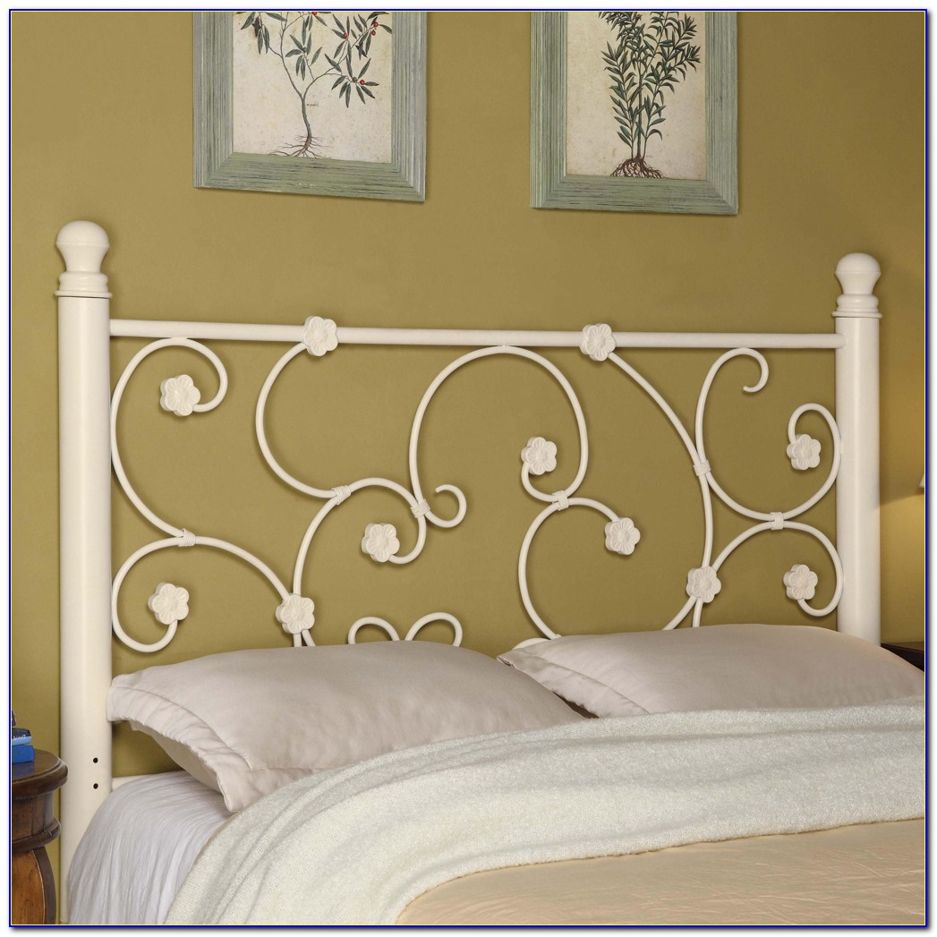 Full Size White Iron Headboard